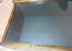 Antique ornate handmade felt lined wood glass rectangular display show case box