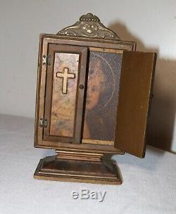 Antique religious catholic gilt wood brass altar cherub display stand art case