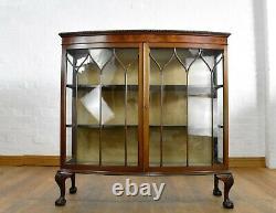 Antique vintage carved glazed bowfront double door display cabinet