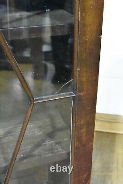 Antique vintage inlaid glazed display cabinet / bookcase