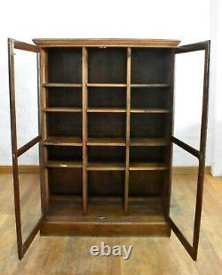 Antique vintage large oak glazed bookcase display cabinet trophy case