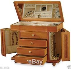 Armoire Cosmetic Jewelry Organizer Wood Case Holder Display Storage Box /Mirror