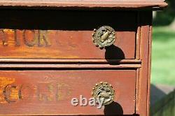 Atique 2 Drawer Wood Spool Cabinet Cotton Thread Old Farmhouse Decor Jewelry Box