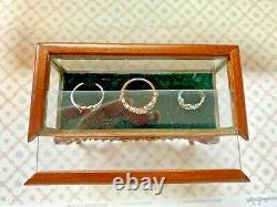 BESPAQ Display Case with Royal Tiaras on Green Velet Dollhouse 112 Miniature