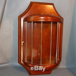 BOMBAY Co Round Glass Wall Display Case Curio Cabinet Curved Wood Vintage Sconce