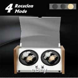 Bamboo Crystal Automatic Rotation Dual Double 4 Watch Winder Display Box Case
