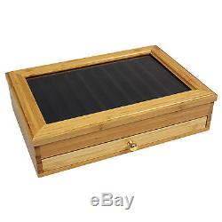 Bamboo Luxury Wood Pen Display Case, 24 Pen Capacity, Rack Slides Out