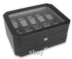 Black Leather Watch Lock Box Display Case, 10 Section Storage Holder Organizer