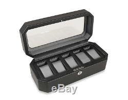Black Wood Watch Box Storage 5-Piece Display Case Glass Faux Leather Silk Fabric