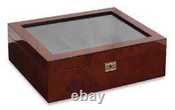 Burlwood Watch Lock Box Display Case, 10 Section Storage Holder, Wood Organizer