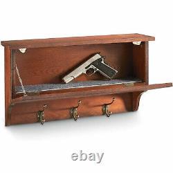 CASTLECREEK Wood Gun Concealment Wall Shelf Safe with Hanging Hooks, Dark Cherry