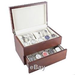 Caddy Bay Collection Vintage Wood Watch Case Display Storage Box with Solid Top