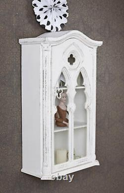 Collect Showcase White Display Case Hanging Wardrobe Wall Shelf Cabinet Antique