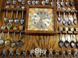 Collectible Souvenir Spoon WOOD DISPLAY CASE With Clock PLUS 54 SPOONS HUGE LOT