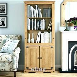 Corona 2 Door Bookcase Display Unit Mexican Solid Pine, Rustic, Distressed