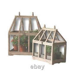 Country Wooden Greenhouse Set Two Tabletop Terrarium Container Display Cases