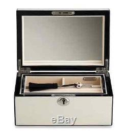 Cream Jewelry Lock Box, Storage Display, Wood Gloss Case, Ring Earring Organizer