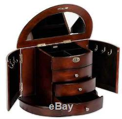 Dark Walnut Jewelry Box Storage Display Wood Case Ring Necklace Organizer Mirror