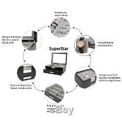 Decorebay SuperStar Luxury Watch & Sunglasses Display Case & Jewelry Organizer
