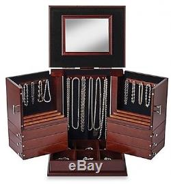 Deluxe Cosmetic Organizer Makeup Wood Case Holder Display Stand Storage Walnut