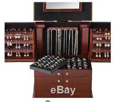 Deluxe Wood case Jewelry Organizer box display in Walnut