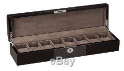 Diplomat Black Wood Finish Eight Watch Storage Display Box Chest Organizer Case