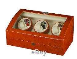 Diplomat Estate Burl Wood Six 6 Watch Winder Burlwood Storage Box Display Case