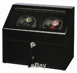 Diplomat Gothica Black Wood Quad 4 Automatic Watch Winder Display Storage Case