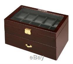 Diplomat Wood Finish Twenty Watch Storage Box Chest Display Organizer Case