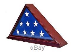 DisplayGifts FC06-CH Solid Wood Elegant 5 x 9.5 Flag Display Case for Flag