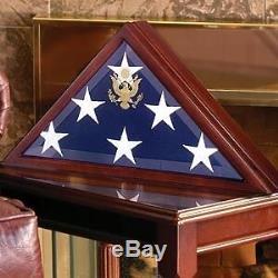 Display Case Memorial Coffin Burial Flag Walnut Wood Military Shadow Box