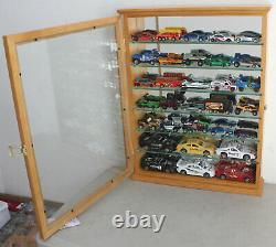 Display Case Wall Cabinet Shelf For Hot Wheels 1/64-1/43 Toy Cars, Oak Finish