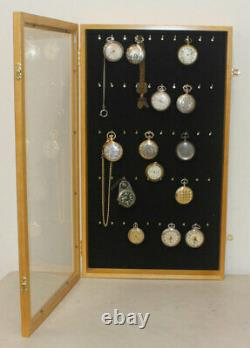 Display Case Wall Cabinet for Pocket Watches Collection Display Storage, withdoor