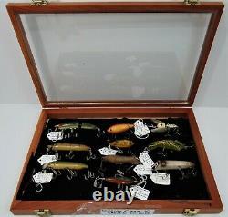 Display Case of 10 Hedddon Antique Lures