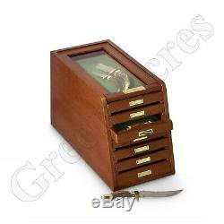 Drawer 7 Collectors Cabinet Solid Wood Display Case Knives Coins Watches Medals