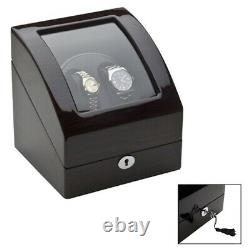 EUROTOOL Double Automatic Watch Winder Wooden Display Box Case Storage Gift