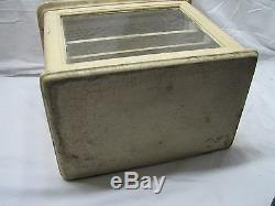 Early Wood Window Barber Case Dental/Medical/Cabinet Display Metal Shelf