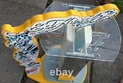 Ed Hardy Yellow Sunglass Wood & plastic advertising store display case holder