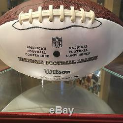 Eli Manning Signed Football in Wood and Glass Display Case