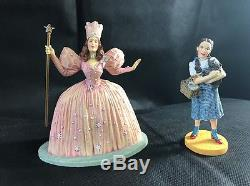 FRANKLIN MINT SET 12 WIZARD of OZ FIGURINES & WOOD DISPLAY CASE In Boxes