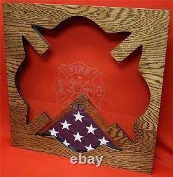 Fireman Maltese Cross Fire Military Award Wood Shadow Box Medal Display Case