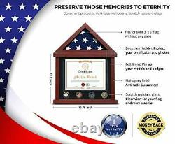 Flag Case Flag Display Case Military Shadow Box Flag and Certificate Display