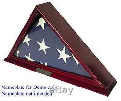 Flag Display Case Military 9 x 9.5' Burial Solid Wood Memorial Funeral Veteran