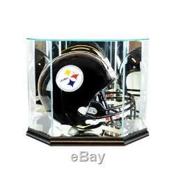 Full Size NFL Football Helmet UV Protected Glass Mirror Display Case Black Wood