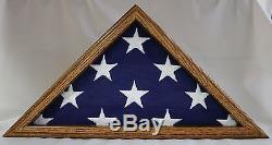 Funeral Flag Display Case, Solid Oak wood fits Burial Casket Flag