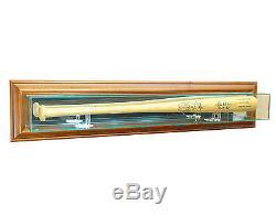 Glass Wall Mount Baseball Bat Display Case With Uv Protection Walnut Wood Frame