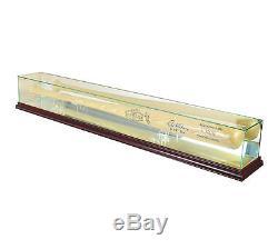 Glass Baseball Bat Display Case Uv Protection Cherry Wood And Mirror Back
