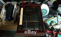 Glass wall large 24 inch curio cabinet wall display case mirror back wood case