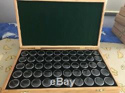Gold Nuggets & Gem Stone Display Case solid Pine timber 50 gem jars