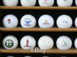 Golf Ball Collection Lot 107 Some Signed, Many Rare Logos with3 Wood Display Cases